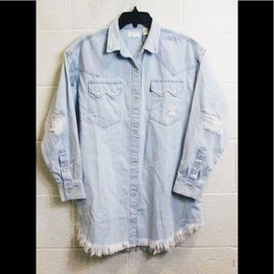 NEW LEVI Denim Distressed Shirt Dress-Size Small